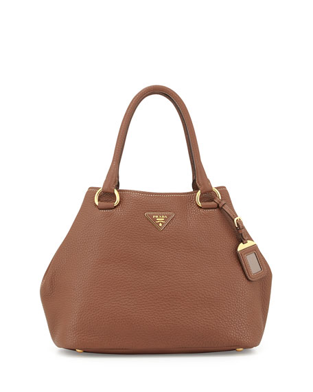small prada bag - Prada Vitello Daino Satchel Bag with Strap, Brown (Marrone)