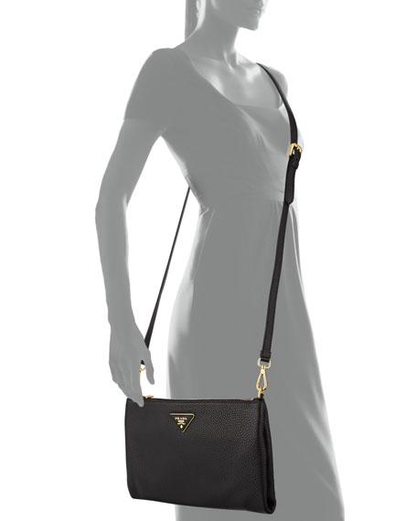 Vitello Daino Crossbody Bag, Black (Nero)