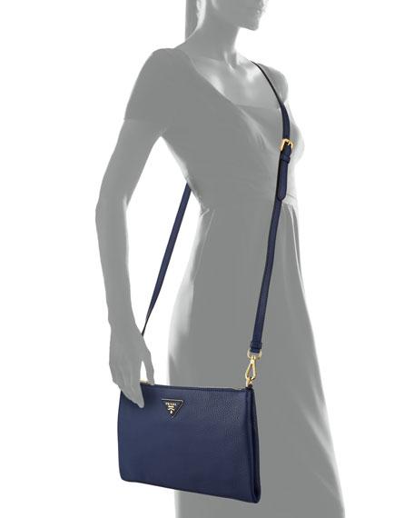 Vitello Daino Crossbody Bag, Dark Blue (Inchiostro)