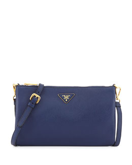 Prada Daino Zip Crossbody Bag, Dark Blue (Inchiostro)