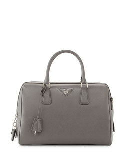 Prada Saffiano Lux Bowler Bag with Strap, Gray (Marmo)