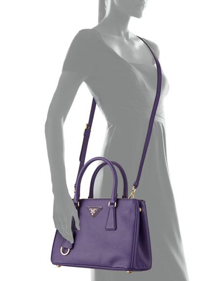 Saffiano Double-Zip Mini Crossbody, Violet (Viola)