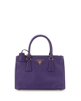 Prada Saffiano Double-Zip Mini Crossbody Bag, Violet (Viola)