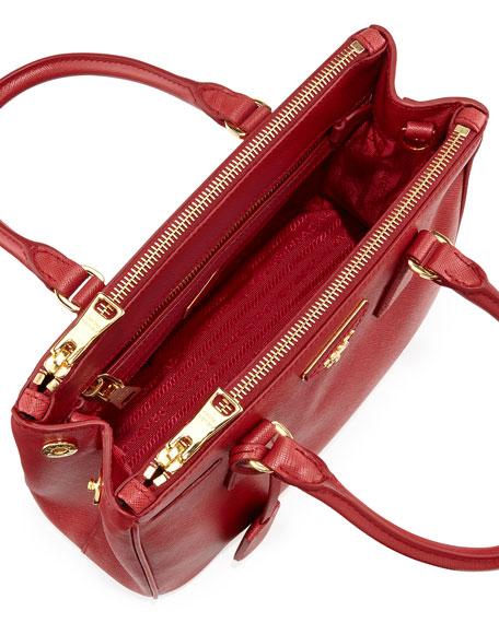 218ed7e5346d Prada Saffiano Mini Double-Zip Tote Bag, Red (Fuoco)