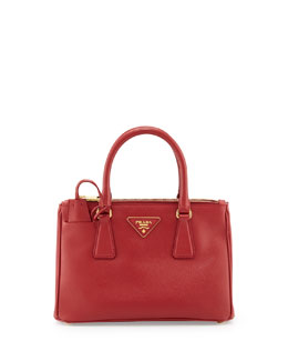 Prada Saffiano Double-Zip Mini Crossbody Bag, Red (Fuoco)