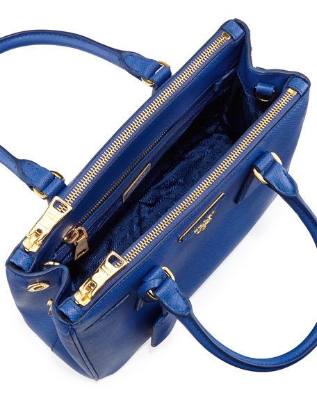 Saffiano Double-Zip Mini Crossbody, Blue (Royal)