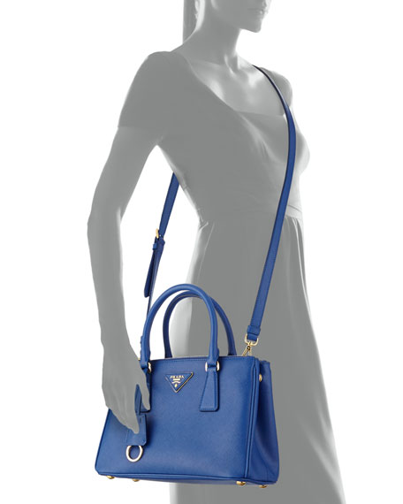 Saffiano Double-Zip Mini Crossbody, Blue (Royal)