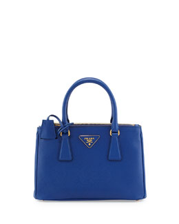 Prada Saffiano Double-Zip Mini Crossbody Bag, Blue (Royal)
