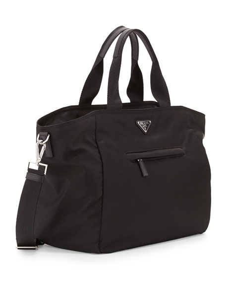 Prada Vela Nylon Tote Bag with Strap, Black (Nero)