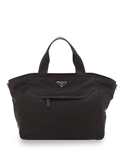 Vela Nylon Tote Bag with Strap, Black (Nero)