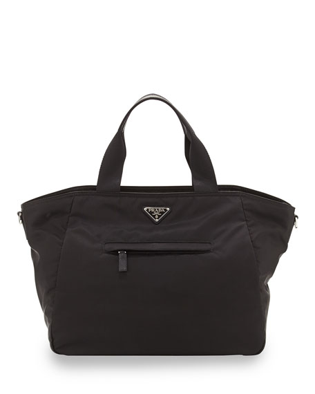buy fake prada - Prada Vela Nylon Tote Bag with Strap, Black (Nero)