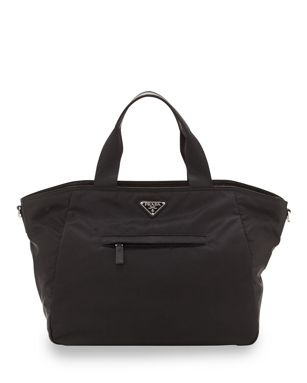 906b78b573 Vela Nylon Tote Bag with Strap, Black (Nero)