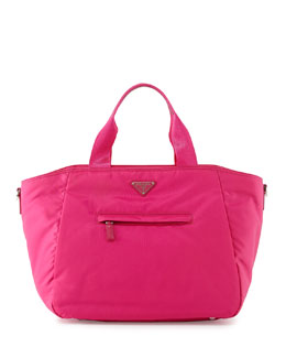 Prada Vela Nylon Tote Bag with Strap, Pink (Fuxia)