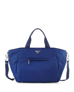 Prada Nylon Tote Bag with Strap, Blue (Royal)