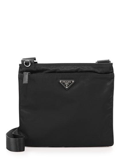 leather prada - Prada Vela Flat Crossbody Bag, Black (Nero)
