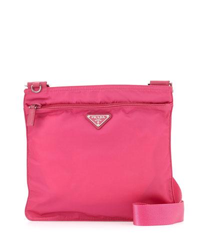 Prada Vela Flat Crossbody Bag, Pink (Fuxia)