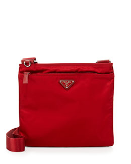 Prada Vela Flat Crossbody Bag, Red (Fuoco)