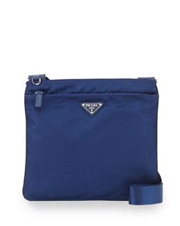 Prada Vela Flat Crossbody Bag, Blue (Royal)