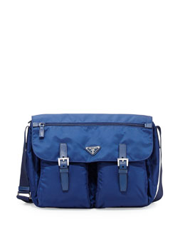 Prada Vela Buckled Messenger Bag, Blue (Royal)