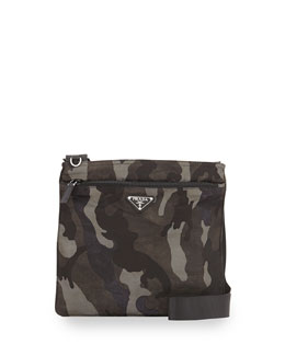 Prada Tessuto Camo-Print Crossbody Bag, Gray Multi (Fumo)