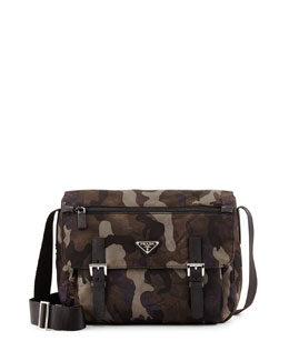 Prada Tessuto Camouflage Messenger Bag, Gray Multi (Fumo)