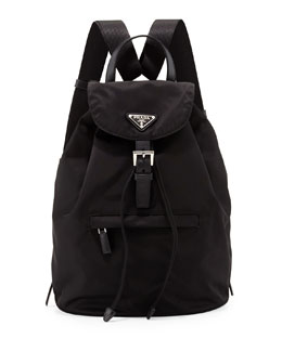 Prada Vela Medium Backpack, Black (Nero)