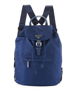 Prada Vela Medium Backpack, Blue (Royal)