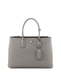 Prada Saffiano Cuir Large Turn-Lock Twin Bag, Gray (Marmo)