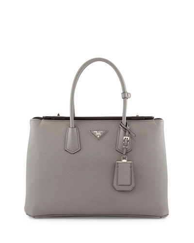 Saffiano Cuir Twin Bag, Gray (Marmo)