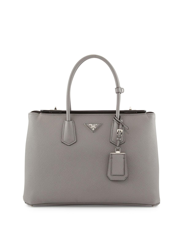 f9f522b84819 Prada Saffiano Cuir Twin Bag, Gray (Marmo)   Neiman Marcus