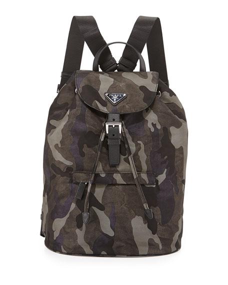 Prada Tessuto Camouflage Backpack, Gray (Fumo)