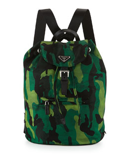 Prada Tessuto Camouflage Backpack, Green (Prato)
