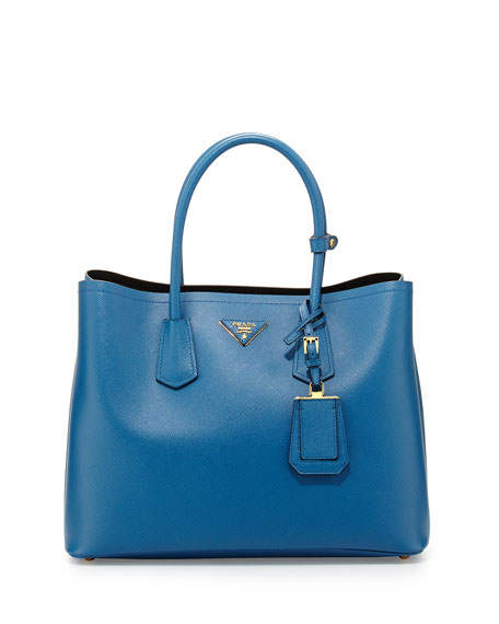PradaSaffiano Cuir Medium Double Bag, Blue (Cobalto)