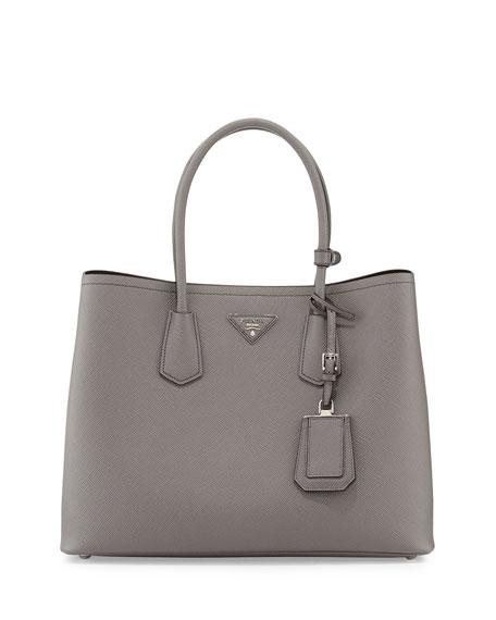 Saffiano Cuir Medium Double Bag, Gray (Marmo)