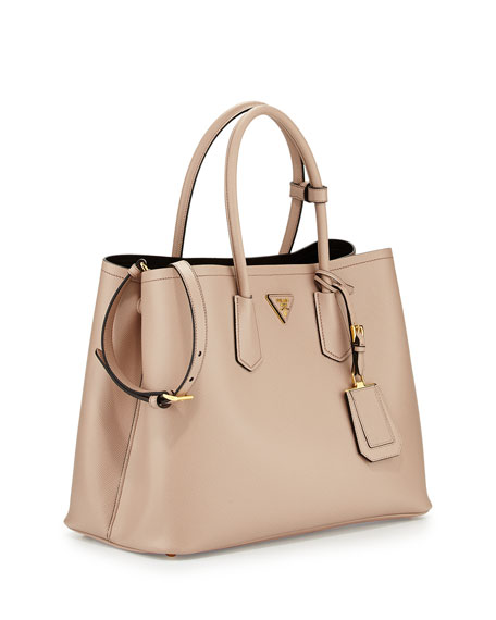 prada nylon wallets - Prada Saffiano Cuir Double Bag, Tan (Cammeo)