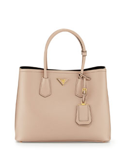 Prada Saffiano Cuir Double Bag, Tan (Cammeo)