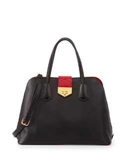 Prada Saffiano Cuir Bicolor Promenade Bag, Black/Red (Nero+Fuoco)