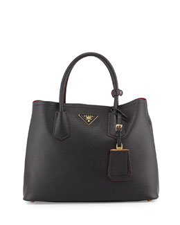 Prada Saffiano Cuir Small Double Bag, Black (Nero)