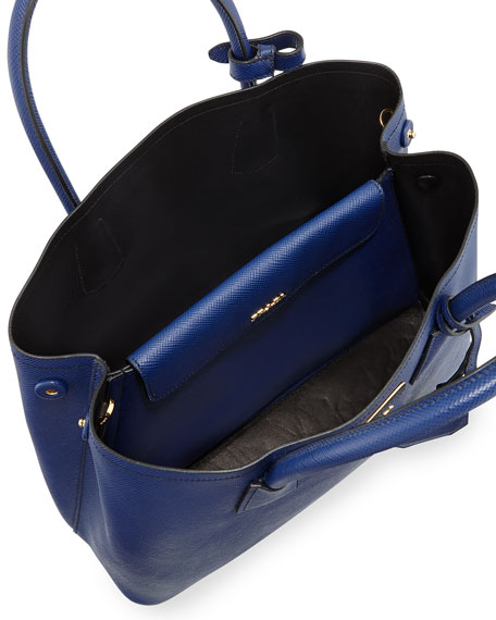 Prada Saffiano Cuir Small Double Bag, Blue (Inchiostro)