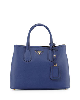 Prada Saffiano Cuir Small Double Bag, Dark Blue (Inchiostro)