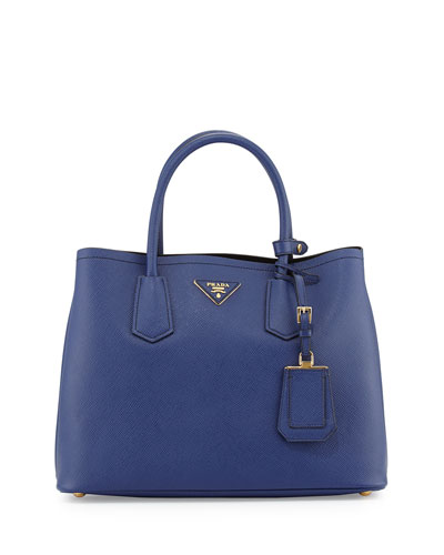 Prada Saffiano Cuir Small Double Bag, Blue (Inchiostro)