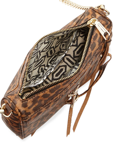Mini MAC Cheetah-Print Faux-Leather Crossbody Bag, Tan