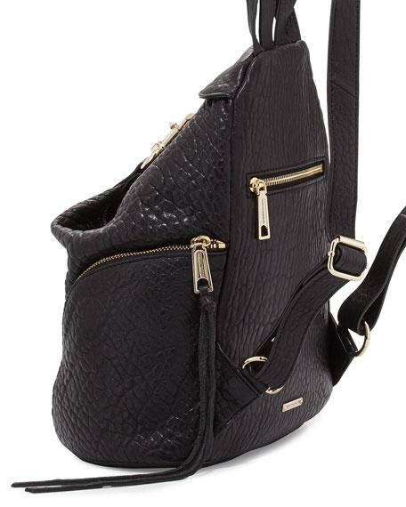Julian Zipper-Trim Faux Leather Backpack, Black