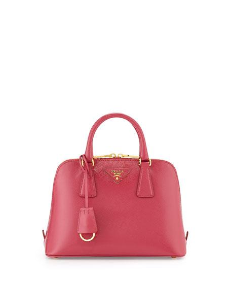 Small Saffiano Vernice Promenade Bag, Pink (Peonia)