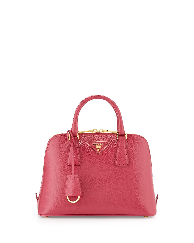 Small Saffiano Vernice Promenade Bag Pink Peonia