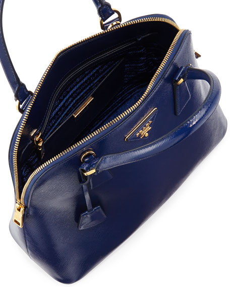 Saffiano North/South Dome Bag, Ink Blue (Inchiostro)