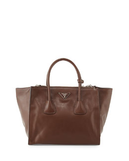 Prada City Calf Large Twin-Pocket Tote Bag, Brown (Cacao)