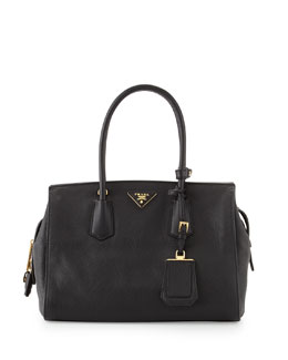 Prada Vitello Grain Satchel, Black (Nero)