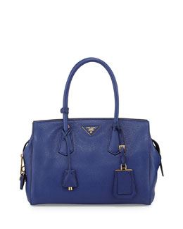 Prada Vitello Grain Satchel, Ink Blue (Inchiostro)