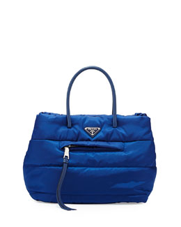 Prada Tessuto Bomber Shopper Bag, Blue (Bluette)